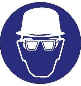 Pegatina casco de securidad y protección de ojos obligatorio