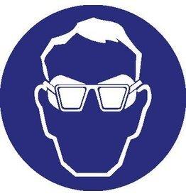 Pegatina usar gafas de protección laterales obligatorio