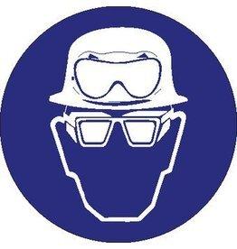 Pegatina casco de securidad, gafas de protección ácido y laterales obligatorio