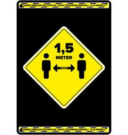 Easydot Wit Etiqueta: mantener la distancia grande (de 1 pieza)