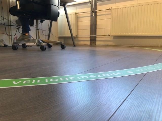 Adhesivo de suelo Zona de seguridad lugar de trabajo medio redondo