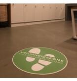 Etiqueta de suelo Zona de seguridad (42 cm redondo) Mantenga una distancia